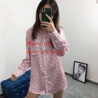 gevşek pembe elmas toptan satış-2019 moda marka Gömlek Dijital 1 elmas mektup baskılı gevşek pembe uzun kollu gömlek casual kadın Tee gömlek kadın giyim TS-6