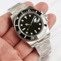 eta 2836 automático al por mayor-Relojes para hombre Reloj de lujo ETA 2836 V8 904L 116610LN Relojes automáticos Marco de cerámica negro Reloj de buceo luminoso Envío de DHL