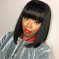 Weimeile Perücke Damen Flaches Pony Langen Geraden Haar Mode Afrikanisches Schwarzes Europäische Und Amerikanische Frisur Schwarz Dunkelbraun