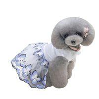 köpekler için tutuş toptan satış-Köpek Elbise Kelebek Baskılı Örgü Tül Tutu Gelinlik Etek Köpekler Için Bahar Yaz Giyim Elbise