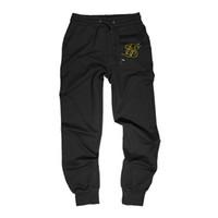 siyah ipek pantolon toptan satış-Yeni Sik Ipek Spor Salonları Erkekler Joggers Rahat Erkekler Sweatpants Joggers Pantolon Giyim Siyah Gri Vücut Geliştirme Pantolon