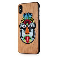 Wholesale Fine knitted embroidery Indigenous peoples bamboo Cherry Blossom wood black walnut wood three kinds of mobile phone protective shell