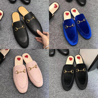 Wholesale lighted brick for sale - Group buy 2019 new Leather men slippers luxury Mules Princetown Designer Classic slippery Metal buckle beach slippers soft cowhide Lazy women shoes