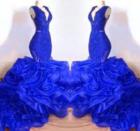 schöne frauen kleiden blau groihandel-Neue schöne Schicht Rüschen Organza Royal Blue Nixe-Abschlussball-Kleid mit V-Ausschnitt Sheer Backless lange Kleider Afrikanische Abendgarderobe Kleider für Frauen