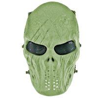 mascarillas militares al por mayor-Skull Full Face Mask Army Games Outdoor Metal Mesh Eye Shield Disfraz Paintball Party Mask para Halloween Party Supplies