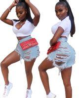 über taille jeans großhandel-Frauen Jeans neue Sommer Loch hohe Taille über dem Knie lässige Jeans High Street Wear Denim Shorts Mode lässig kurze Hosen