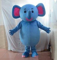 traje de elefante azul venda por atacado-2019 desconto fábrica venda azul gordura elefante mascote traje terno para adultos for sale