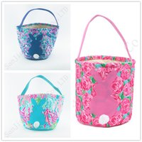 Wholesale flower tote bag pattern resale online - 2019 Lilly Barrels Baskets Flowers Pattern Print Burlap Storage Bag DIY Easter Shopping Handbags Tote Easter Egg Candy Gifts Basket A21903