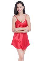 ingrosso abito da bagno rosso-New Red Summer Women's Robe Bath Gown Vendita calda Faux Silk Nightwear Accappatoio Camicia da notte Pigiama Taglia S M L XL XXL TB48