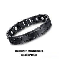 bijoux en titane santé achat en gros de-Bijoux en acier titane véritable guérison magnétique Soins santé Bangle Mode bio blanc Aimants Bracelet hommes noirs Boutons de manchette Bracelets 22cm * 1.25cm