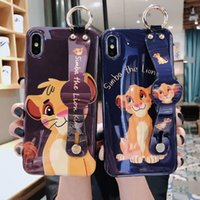 Wholesale iphone lion cases for sale – best The Lion King Wrist support Soft silicon cover case for iphone plus plus X XR XS Max Pro Glossy Blue light phone coque