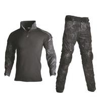 uniformes do exército negro venda por atacado-Tático Combate Uniforme Camisa Multicam + Calça Cotovelo Joelheiras EUA roupas do exército Preto Camo Terno Caça Roupas