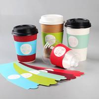 copos de papel venda por atacado-100 pcs descartável copo manga para copos descartáveis papel cartão branco suco de chá de café copo manga ajustável tamanho personalizado