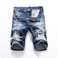 nouveau short en jean pour hommes achat en gros de-nouveau 2019 Hommes Denim Tearing shorts Jeans Night club bleu coton fashion Tight été Pantalon homme A8066 PHILIPP PLEIN DSQUARED2 DSQ2 D2