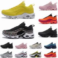 zapatos para caminar negros hombres al por mayor-2019 New Mens 97 Plus Shoes Classic 97 OG Women Zapatillas Negro Blanco Trainer Sneakers Cushion Breathable Men Walking Sports Shoes