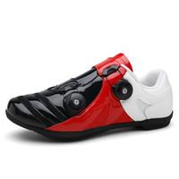 schwarzes blaues rennrad großhandel-Radfahren Schuhe Männer Frauen selbstsichernde atmungsaktive Fahrradschuhe MTB Road Racing Reiten schwarz blau