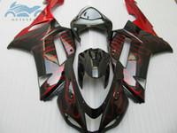zx6r schwarz rot großhandel-Heißer Verkauf Verkleidungssatz für Kawasaki Ninja ZX6R 2007 2008 rote Flammen in schwarzen Verkleidungen setzen ZX6R 07 08 LJ77