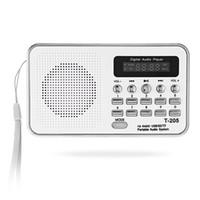 radio sd card player al por mayor-T-205 Mini altavoz estéreo digital portátil Radio FM Reproductor de música Soporte blanco TF / tarjeta SD recargable