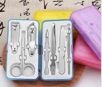 бесплатный комплект для наращивания ногтей оптовых-7 шт. Маникюрный Набор Из Нержавеющей стали Кусачки Для Ногтей Инструменты Для Ухода За Искусством Мини-Резак Педикюр Файл Ножницы Пинцет Нож Утилита Pick Utility Kit бесплатный DHL