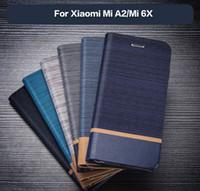 kartvizit defterleri toptan satış-İş Pu Deri Kılıf Xiaomi Mi A2 Flip Case Yumuşak Tpu Silikon Arka Kapak Için Xiaomi Mi 6X Kart Yuvası Kitap Durumda