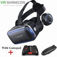 vr denetleyici toptan satış-IPhone Android Controller için Gamepad Sanal Gerçeklik Casque 3 D Gözlük Kulaklık Kask Kutusu ile 6.0 3D VR Gözlük Shinecon