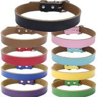 neue hundehalsbänder leder großhandel-Neue 9-farbige hochwertige reine rindsleder mode haustier kragen leder verdickt hundekette zughund zubehör T2I5101