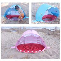 bebek çadır havuzu toptan satış-Köpekbalığı Şekli Bebek Plaj Çadır Havuzu UV Koruması ile Pop Up Gölgelik Güneş Barınak Çocuklar için Açık Kamp Tente çadırları