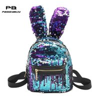 Wholesale cute backpack bags for women for sale - Group buy Child Mini Shining Sequins Backpack Big Casual Rabbit Ear Shoulder Bags for Women Baby Girls Small Fashion Cute travel bag