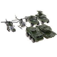 modelos de tanques de metal al por mayor-6 unids / set Diecast Metal Army Vehicle Toy Set, 1/87 Escala Jeep Tank Helicopters Modelo de Coche de Juguete para Niños Niños