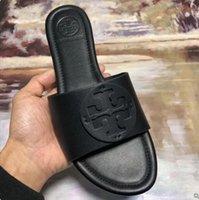 italya 38 toptan satış-2019 Yeni Moda Klasik İtalya Yaz Tory Terlik Kadın T-kayışı Çevirme Tanga Sandalet Tasarımcıları Toka Askı Bayan Kadın Slaytlar ayakkabı