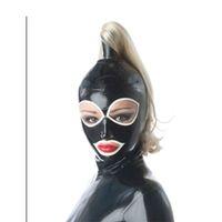 máscara ocular de borracha venda por atacado-Máscara de capuz de látex Olhos brancos e rosto de boca Máscara com máscara de borracha pigtail