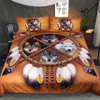 Wholesale twin wolf print bedding sets for sale - BlessLiving Wolves Dreamcatcher Bedding Set Native American Indian Wolf Duvet Cover Western Wild Animal Tribal D Bed Cover