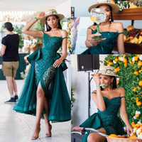 Wholesale prom dresses straps tea length resale online - Hunter See Through Prom Dresses Sexy Peplum Lace Tulle Front Split Cocktail Party Dress Beads Pearls African Mermaid Evening Gowns
