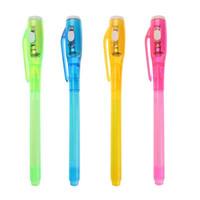 grandes plumas de tinta al por mayor-Luminosa Light Magic Pen creativo principal grande ABS UV invisible Comprobación Dibujo Bolígrafo de tinta invisible rotulador para los niños juguete nuevo Nuevo