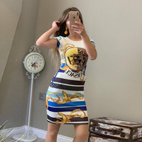 robe moulante achat en gros de-2019 Nouvelle Mode À Manches Courtes Sexy Dress D'été Casual Femmes Vêtements Designer Marque Classique T-shirt Robes Dames Vêtements Tops Jupe Serrée