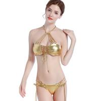 a6eb12d8126b Golden Bikini Costume da bagno temperamento dea polyrope anello  polimetallico cintura di sospensione vuota con collo appeso bikini dorato  costume da bagno ...