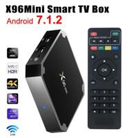 leitor de cartões mp4 venda por atacado-X96 mini Android 7.1 Inteligente CAIXA de TV 1 GB + 8 GB 2 GB + 16 GB Kodi 17.3 S905W Media Player Amlogic Quad Núcleo Wifi 4 K Internet TV Set-top Box