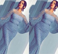 perles moyen orient achat en gros de-2019 Arabe Sirène De Bal Robes Ice Blue Sheer Cou Cou Manches Longues Balayage Train Perles Robes De Soirée Formelles Moyen-Orient Robes De Noche