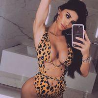 biquinis brasileiros um pedaço venda por atacado-Novo 2019 Sexy Bikini Swimwear Swimsuit Mulheres Brasileira Leopardo Snake Oco One-piece Ternos bandage Maiô Biquini Beachwear