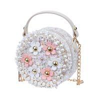 женские сумочки из жемчуга оптовых-Fashion Flower Pearl Kids Baby Messenger Bags Clutch Women Crossbody Bag Female Shoulder bags For Girls Party Handbags