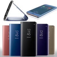 espejos de cuero al por mayor-Funda oficial con espejo para Iphone XR XS MAX X 10 8 7 Galaxy S10 Lite S9 Note 9 8 S8 Flip Revestimiento de cuero Ventana inteligente Metálico Cromado