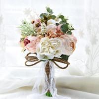 ingrosso fiori di mazzo di nozze-Nuovo 2019 colorato bouquet da sposa artificiale di fiori per matrimonio ins sposa mano che tiene fiori economici