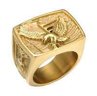 Wholesale mens stainless steel eagle ring for sale - Group buy Mens Hip Hop L Stainess Steel Eagle Rings High Quality Mens Ring Pop Club Accessories Gold Silver Jewelry