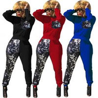 Wholesale red yoga pants online - Sequins Patchwork Tracksuit Women Long Sleeve Pullover Sweatshirts Top Pants Set Outdoor Sports Clothing OOA6188