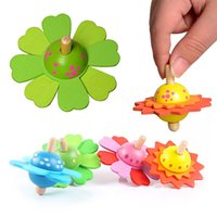 Wholesale hand spinner colorful resale online - Wooden Colorful Relaxed Ornaments Mini Hand Spinner Flower Spinner Toy Novelty Relieve Stress Spinning Top Flowers Vintage