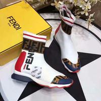 sapatos brilhantes pretos para homens venda por atacado-2019 ROCKOKO Novo Designer Shine Stretch-Knit Treinador de Velocidade Sapato Casual Homem Mulher Barato Sneaker Alta Top Botas Casuais Mix Vermelho Fundo Preto