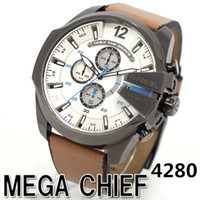 mira bandas grandes al por mayor-Top Luxury Fashion Sports Relojes para hombres Reloj con pantalla grande Marca Top Luxury Reloj de cuarzo Banda de cuero 7331 Relojes de moda para hombres DZ