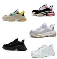 sapatos de cor bege homens venda por atacado-2019 Moda Paris 17FW Triple-S Sapatos Casuais Triplo S Conforto Casuais Sapatos de Plataforma homens e mulheres Bege Cor Preta Tamanho Popular 36-45