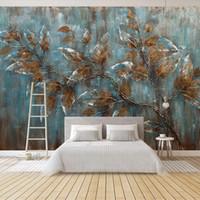 Wholesale bedroom oil paintings resale online - Custom Mural Wallpaper For Bedroom European Style Oil Painting Tree Leaves Art Background Wall Living Room Decoration Painting