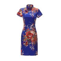 robes chinoises modernes achat en gros de-Qipao Cheongsams Dress Femmes Chinoises Coton Manches Courtes Traditionnel Floral Print Modern Retro Robe Satin Mini Robe Robe Femme